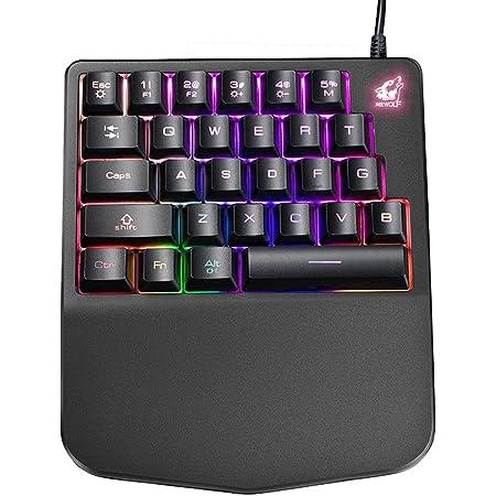 FELiCON Teclado para Juegos con Una Sola Mano K11 con Cable, 28 Teclas Rainbow con Retroiluminación LED, Teclado Mecánico Ergonómico USB con ...