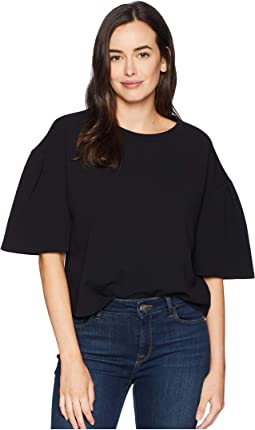 Cropped Knit Top w/ Slit Sleeves