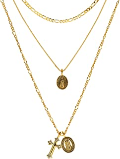 ACC PLANET Gold Cross Pendant Necklace 14K Gold Plated Figaro Choker Saint Medal Disc Circle Vintage Layered Necklace for Women