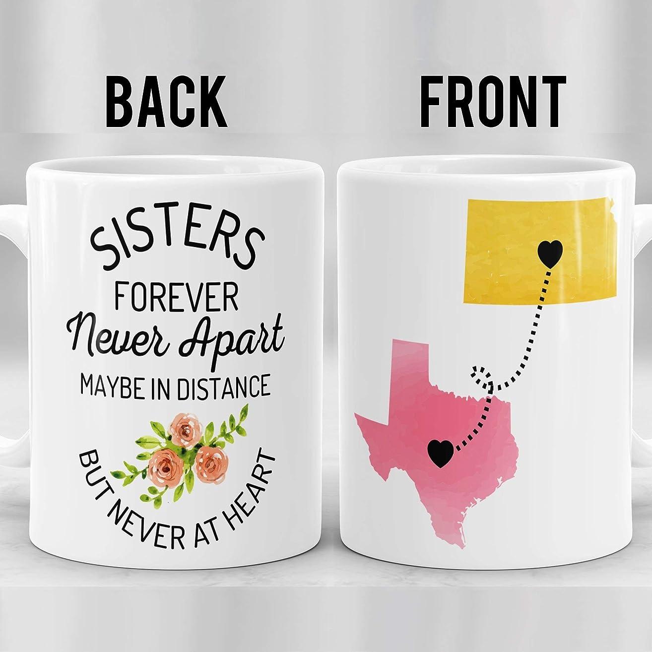 Sisters Long Distance Mug, Sisters Mug, Sister Gift, Birthday Gift for Sister, Sister Moving Mug, Sisters State To State Mug