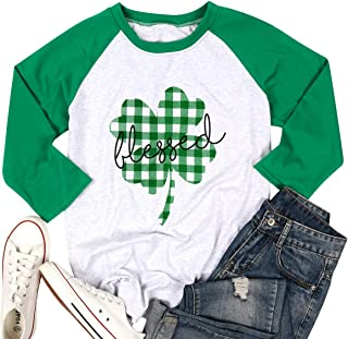MAXIMGR Lucky ST Patricks Day T-Shirt Women Plaid Graphic Casual Short Sleeve Letters Printed Top Tees