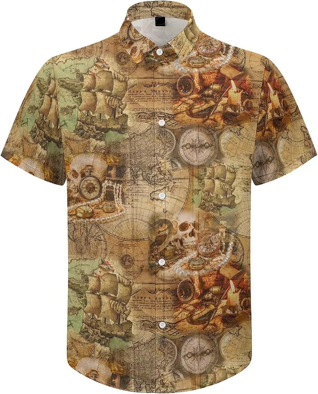 Mens Button Down Shirt Compass World Map Skull Casual Summer Beach Shirts Tops