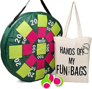 Garden Games Juego de Tablero de Dardos Inflable con 3 Pelotas - Juego de Puntería al Aire Libre en una Bolsa de Algodón Grueso