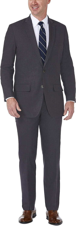 Haggar Men's J.m Premium Stria Tailored Fit Suit Separate Coat, Dk. Grey Heather, 46L with Tailored Fit Suit Separate Pant, Dk. Grey Heather, 40Wx32L