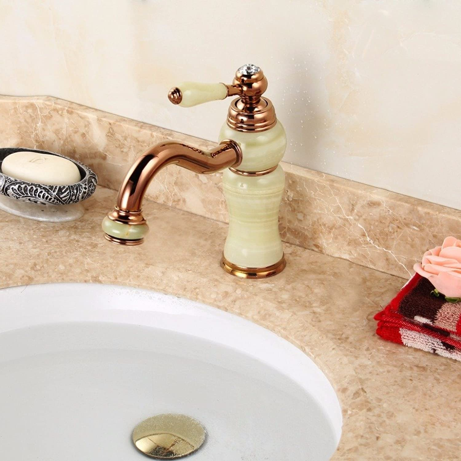 Makej Long Mouth Bathroom Sink Mixer Tap Luxury Marble Handle Marble Body pink gold Brass Basin Faucet