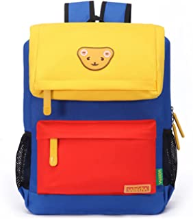 Willikiva Cute Bear Kids School Backpack for Children Elementary School Bags Girls Boys Bookbags (Yellow/Orange/Azure, Large)