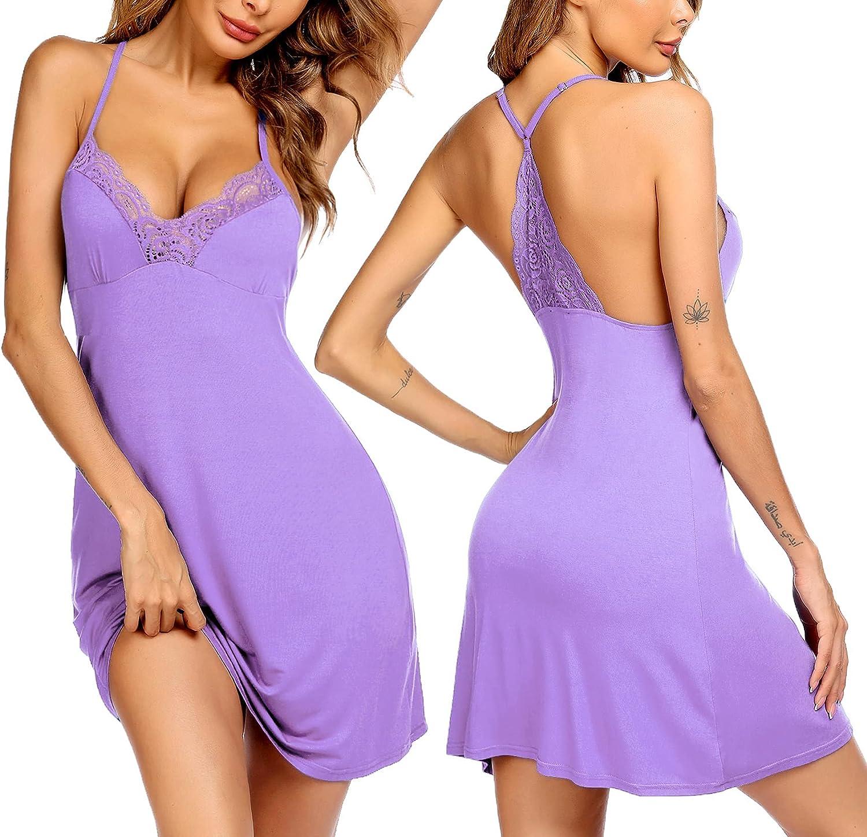 Ekouaer Womens Chemises Nightgown Full Slip Sleep Dress Lace Lounge Sleepwear Dress