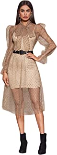 SweatyRocks Women's See Through Polka Dot Mesh Long Sleeve 2 Piece Midi Club Dress