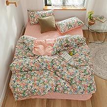 غطاء لحاف أميرة وردي من MKXI غطاء لحاف سرير مزدوج للأطفال غرفة نوم مجموعة زهور طقم غطاء لحاف لطيف لغرفة البنات