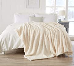Great Bay Home Ultra Soft, Fuzzy Sherpa Stretch Knitted Bed Blanket. Lightweight and Cozy, Elegant, Chic Fleece Blanket for Sleeping. (Full/Queen, Winter White)