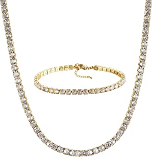 Tewiky Tennis Necklace 14K Gold Plated/Silver Sparking Rhinestone Choker Necklaces Dainty Crystal Cubic Zirconia Bridal We...