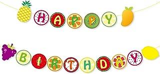 Yaaaaasss! Tutti Frutti Banner Kids Happy 2nd Birthday Decoration Fruit Themed Summer Party Supplies