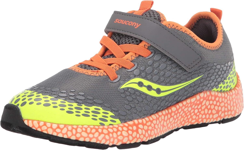 Saucony Boy's Astrofoam Sneaker, Grey/Orange, 2 W US Big Kid