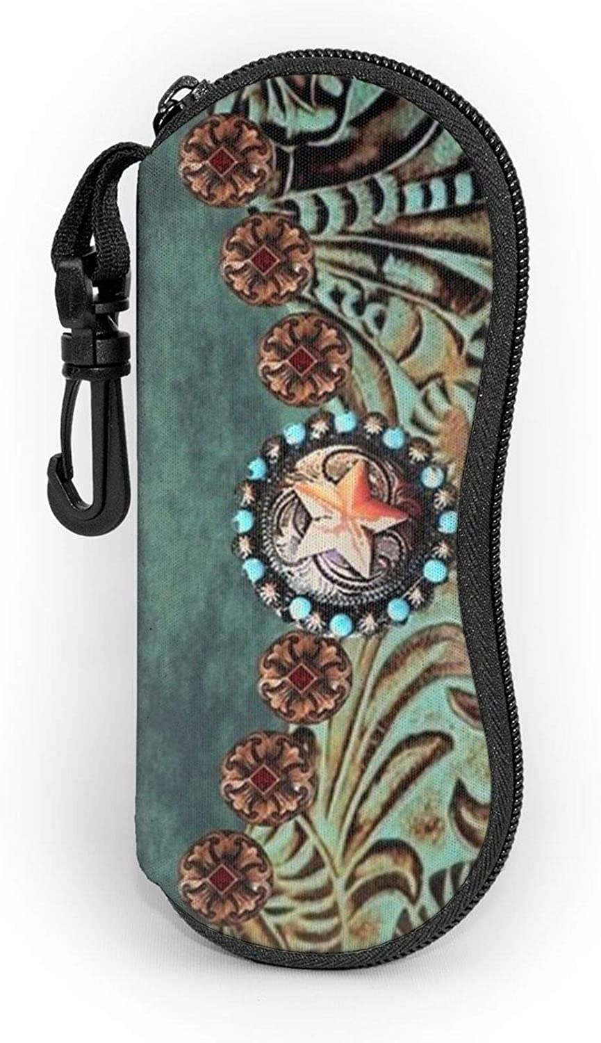 Sunglasses Soft Zip Case Eyeglass Cases with Belt Clip Western Turquoise Tooled Leather Rustic Star Ultra Light Glasses Pouch