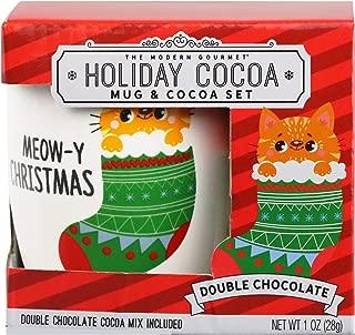 Thoughtfully Gifts, Holiday Cat Mug Gift Set, Includes Cat Mini Mug with Double Chocolate Hot Chocolate Mix