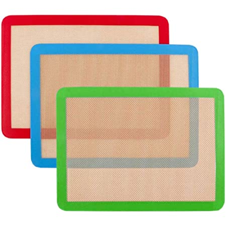 Lot de 3 tapis de cuisson en silicone 42cm x 27 cm - Antidérapant lavable et réutilisable - Non toxique - Flexible et anti-adhésif - Facile à nettoyer