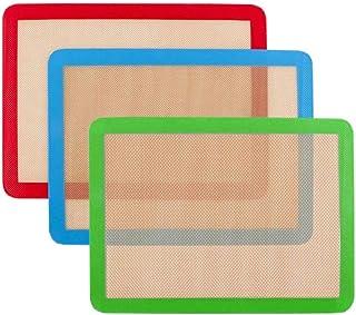 Lot de 3 tapis de cuisson en silicone 42cm x 27 cm - Antidérapant lavable et réutilisable - Non toxique - Flexible et anti...