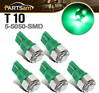 Partsam 5X Cab Roof Running Light Lamp W5W 2825 168 T10 Green 5-5050-SMD LED Bulbs Replacement for Ford Chevy Dodge