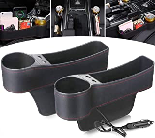 Jeteven 2 Packs Car Seat Cap Filler, Multifunctional Car Seat Organizer with Cup Holder, Storage Box, USB Charging, 2 Bag ...