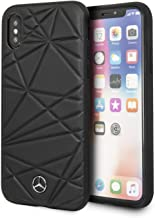 CG Mobile Mercedes Benz Genuine Leather Case for iPhone X and XS Hard Cell Phone Cover Twister Pattern Black Easy Snap-on Shock Absorption Cover Officially Licensed.