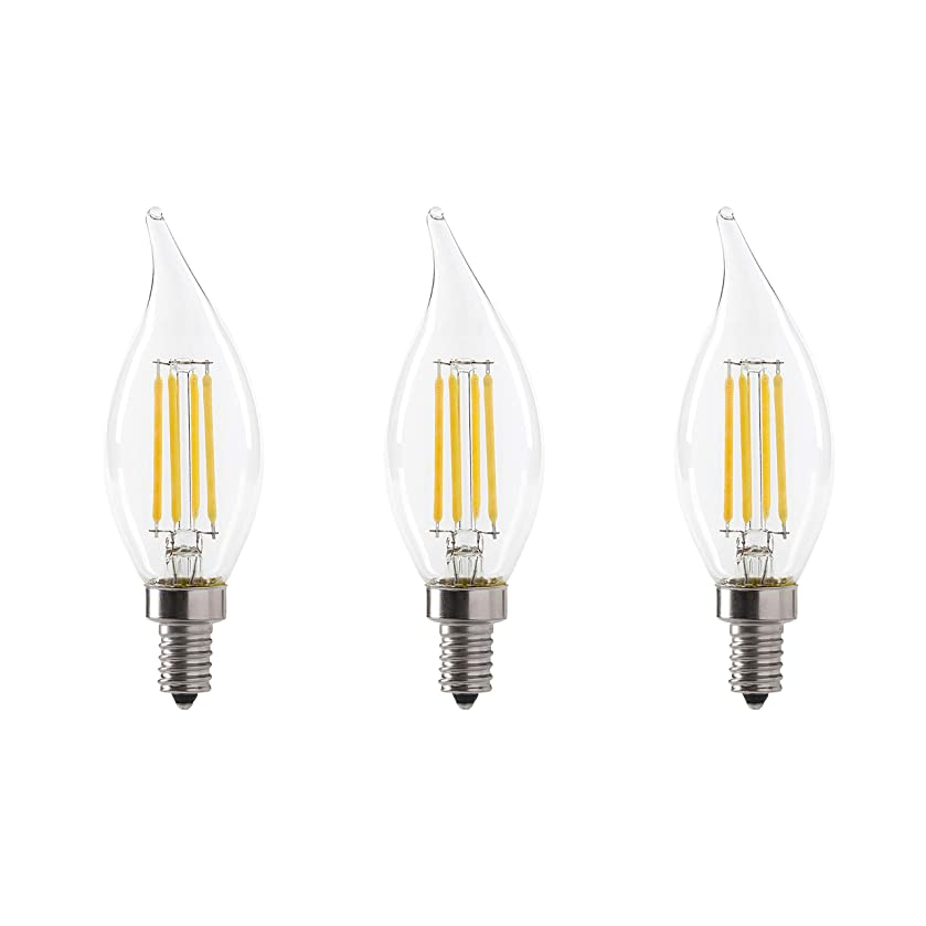 LED 3.5W Flame Tip Clear Filament Chandelier Light Bulb, 40W Equivalent, 300 Lumens, 3000K Soft White, Dimmable, 120V, E12 Candelabra Base, UL Listed, Clear (3 Pack)
