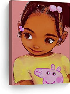 SmileArtDesign Cute African Kid Girl Pink Background Digital Painting Canvas Print Nursery Kids Room Wall Art African American Art Home Decor Ready to Hang Made in USA 12x8