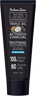 Nature Care 100ml Organic Coconut Peppermint Tea Tree Oil Activated Charcoal Toothpaste Whitening Gel   Vegan, No Fluoride, No GMO, No SLS (Single)