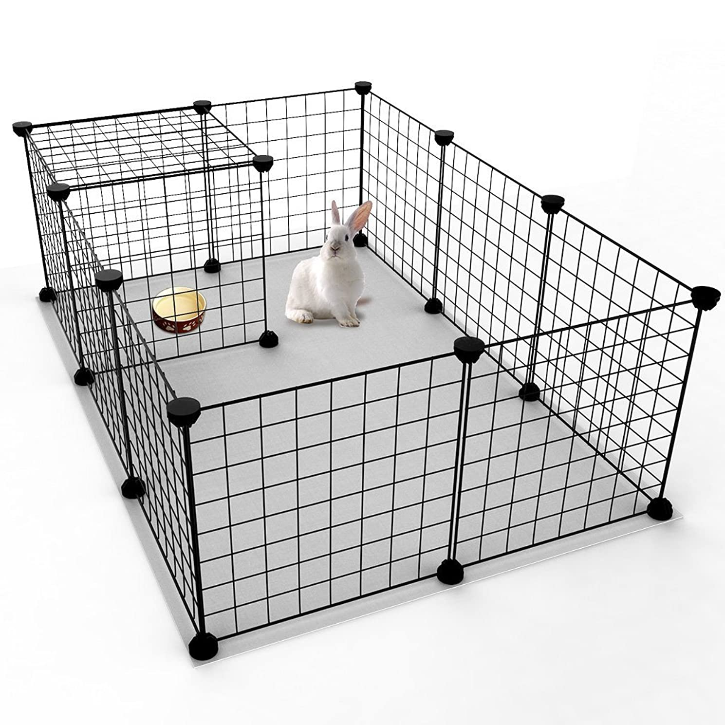 JYYG Small Pet Pen Bunny Cage Dogs Playpen Indoor Out Door Animal Fence Puppy Guinea Pigs, Dwarf Rabbits (12 Panels, Black)