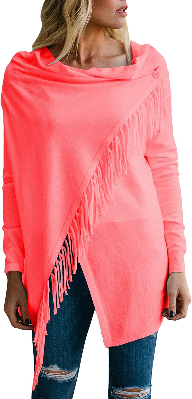 Viottiset Women's Tassel Hem Crew Neck Knitted Cardigan Wrap Sweater Coat Outwear