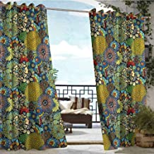 Andrea Sam Exterior/Outside Curtains Garden Art,Whimsical Florist Doodle,W96 xL108 for Front Porch Covered Patio Gazebo Dock Beach Home
