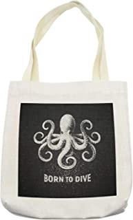 Lunarable Octopus Tote Bag, Chalk Tentacle Animal on Charcoal Grey Background and Born to Dive Words, Cloth Linen Reusable Bag for Shopping Books Beach and More, 16.5