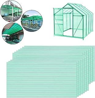 Naizy - 14 placas alveolares de cámaras huecas de policarbonato, 4 mm de diámetro, 10,25 m2, placa de doble puente para invernadero, placas de repuesto (60,5 x 121 cm), verde