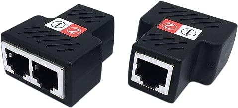 CERRXIAN RJ45 Female to 2 Female Splitter Coupler LAN Ethernet Network 1 to 2 Adapter (2-Pack)