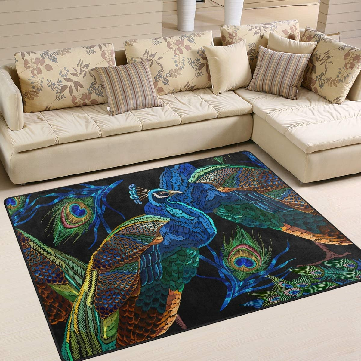 AGONA Blue Peacock Area Rug 5x7 Rugs Louisville-Jefferson County Mall Mode Soft Indoor shop Large