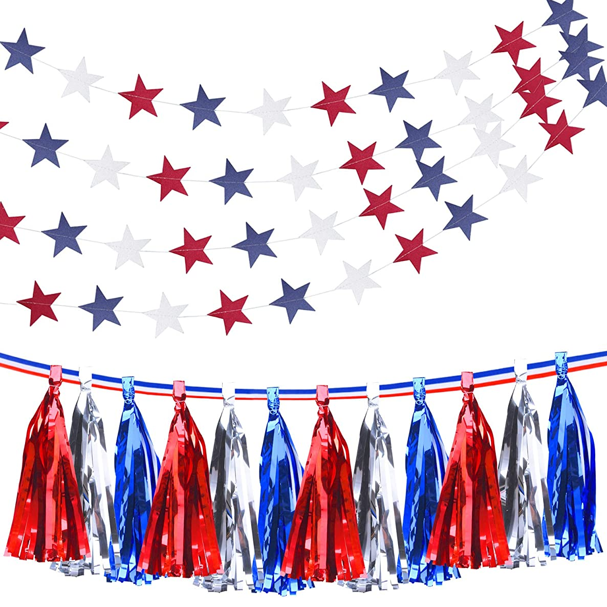 Livder 20 Pieces Metallic Tassels with Ribbon, Star Streamers Hanging Banner for 4th of July National Day and Election Patriotic Party Decorations