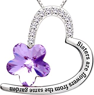 """ALOV Jewelry Sterling Silver""""Sisters are flowers from the same garden"""" Love Heart Purple Crystal Cubic Zirconia Pendant Necklace"""