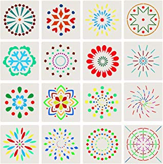 TOLTOL 16pcs Mandala Template Set,5inch Plastic Stencil Painting Template 12 Colors Glitter Powder for Planner/Notebook/Diary/Scrapbook/Graffiti/Card/DIY Drawing Painting Craft Projects