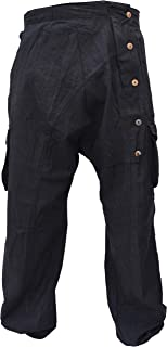 Pantalones cargo de harén arrugados con botones y bolsillos, para hombre