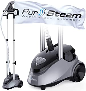 PurSteam Garment Steamer Professional Heavy Duty Industry Leading 2.5 Liter (85 fl.oz.) Water Tank, 60+min of Continuous S...