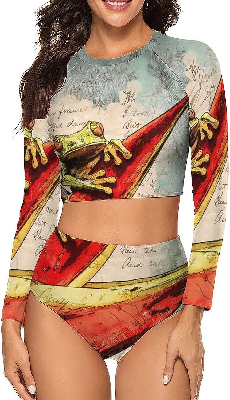 Tvsuh-u Women's Bathing Suits 2 PCS Frog Vintage Letters Long Sleeve Rash Guard Swimsuits Crew Neck Athletic Shirt