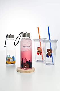 LINE FRIENDS Strap Bottle - Character 400ml New York Edition Drinking Tumbler, Parent
