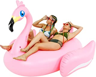 TCP Global Sundaze Floats Giant 7 Foot Inflatable Pretty in Pink Flamingo Pool Float - Fun Kids Swim Party Toy - Summer Lounge Raft