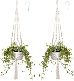 Macrame Plant Hangers,HOME-MART Indoor Hanging Planter Basket Flower Pot Holders Cotton Rope with Tassels, for Patio, Wind...