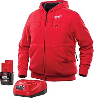 Milwaukee Hoodie KIT M12 12V Lithium-Ion Heated Front and Back Heat Zones Battery and Charger Included (Medium, Red)
