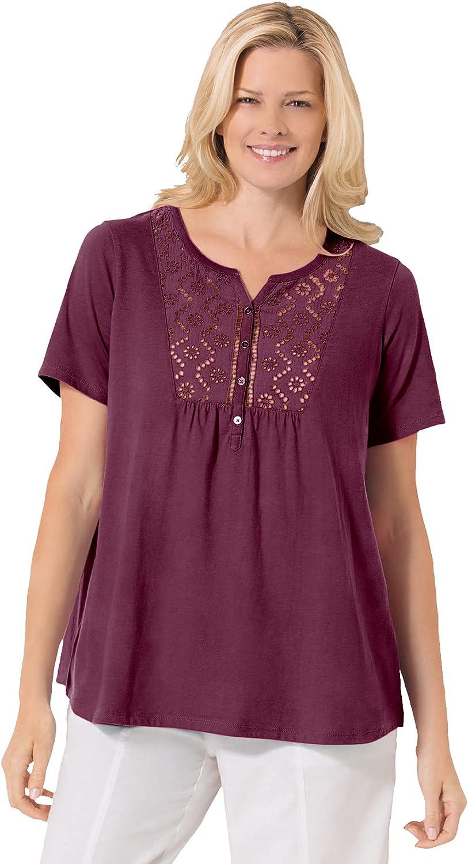 Woman Within Women's Plus Size Eyelet Henley Tee Shirt