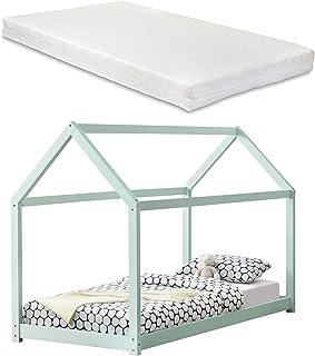 [en.casa] Barnsäng med madrass 90 x 200 cm mint trä hus design furu säng träsäng hussäng kallskummadrass Öko-Tex Standard ...