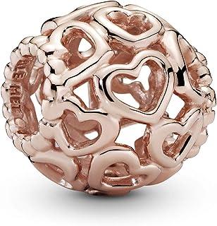 Pandora Dames Rose All Over-Heart Charm 14 karaat rosé vergulde metaallegering 780964