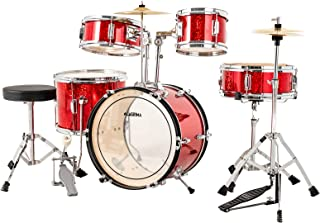LAGRIMA 16 inch 5-Piece Complete Kids/Junior Drum Set with Adjustable Throne, Cymbal, Pedal & Drumsticks, Sparkles Bright Red