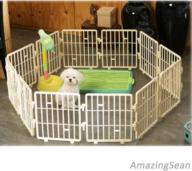 Pet Playpen Plastic Panel, 15  Panel, Dog Fence, Cat Exercise Pens, Kennel, Cat Fence Panel (8 Panel, Ivory)