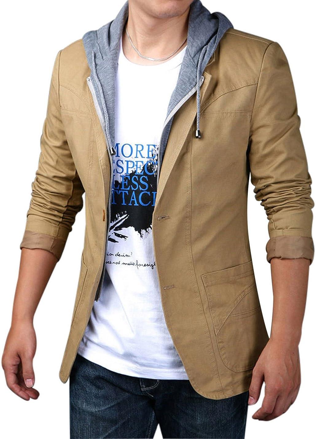Yeokou Men's Casual Cotton Slim Two Buttons Hoodie Suit Jacket Blazer Sport Coat